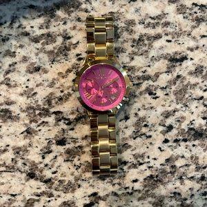 Mk Bradshaw Chronograph Hot Pink Dial Gold-Tone